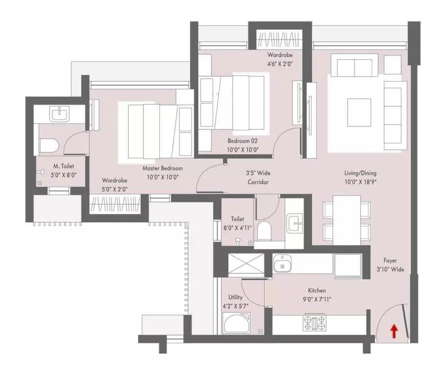 lodha casa viva apartment 2bhk 677sqft 1