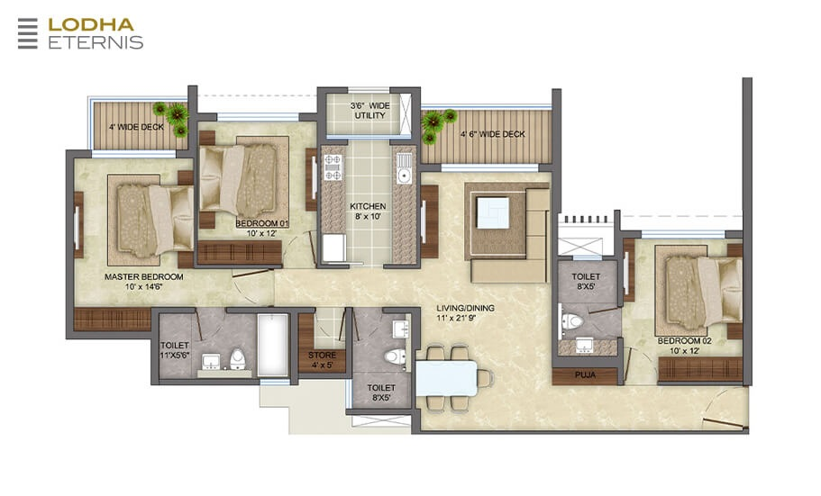 lodha eternis apartment 3 bhk 1195sqft 20215205175226