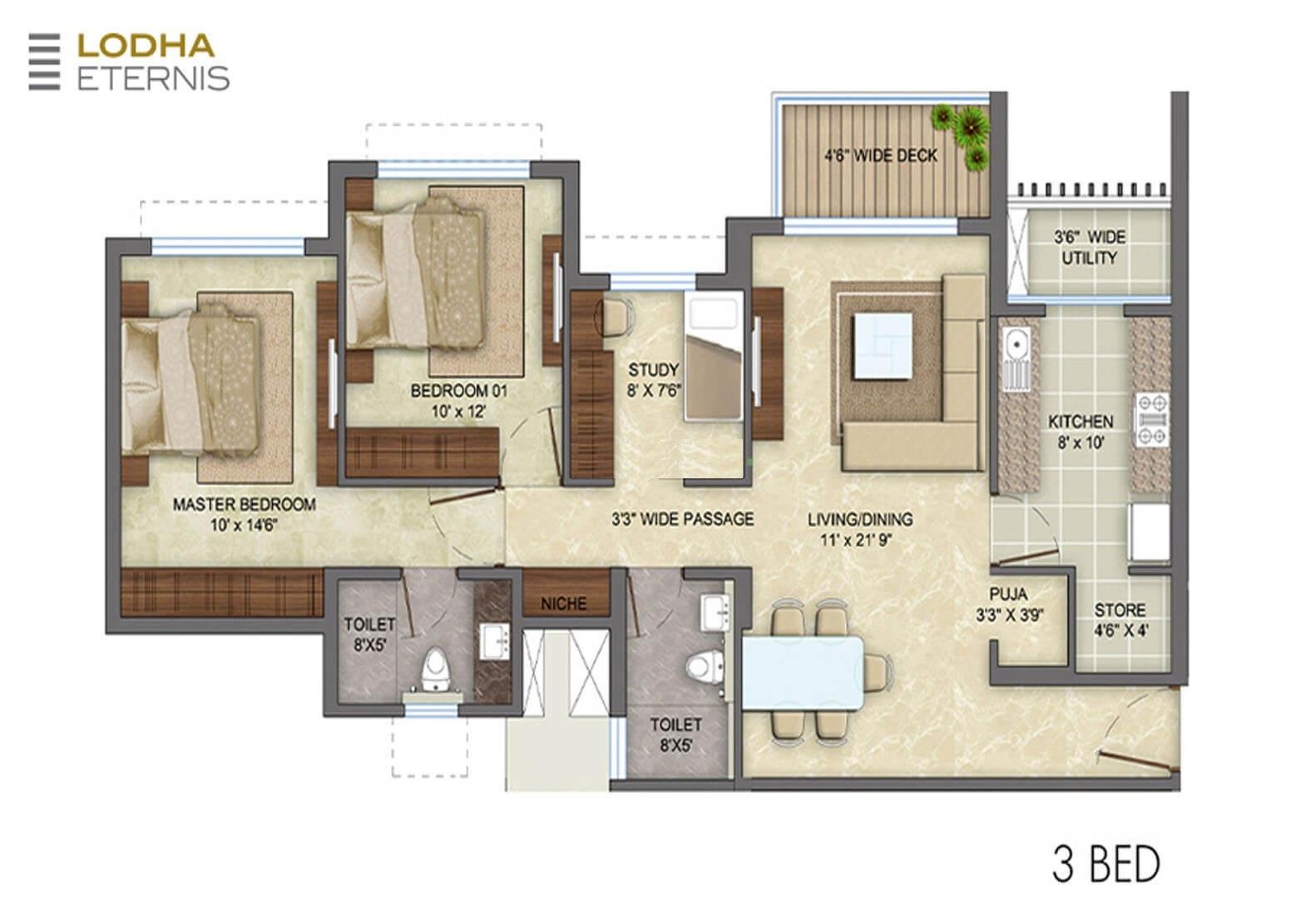 lodha eternis apartment 3 bhk 894sqft 20215305175359