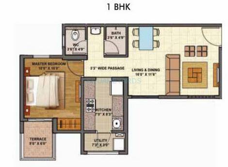 lodha palava downtown apartment 1bhk 783sqft 1