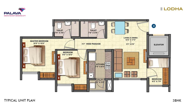 lodha palava riverside apartment 3bhk 673sqft 1