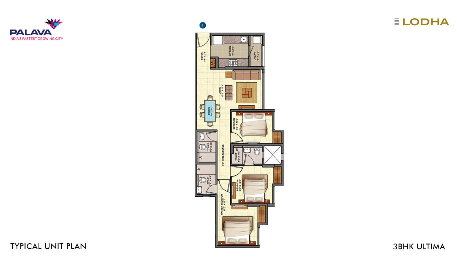 lodha palava riverside apartment 3bhk 845sqft 1