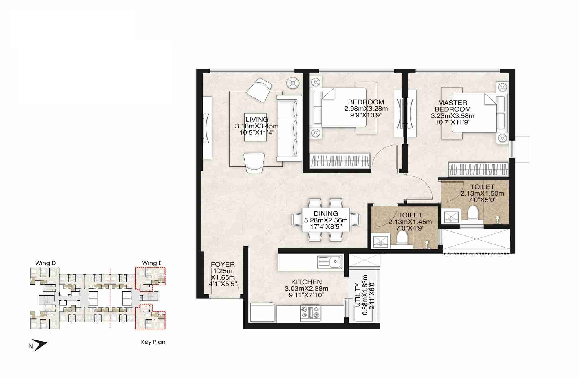 mahindra alcove wing d and e apartment 2 bhk 729sqft 20214024084039
