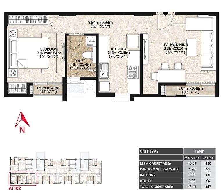 mahindra lifespaces vicino apartment 1bhk 457sqft51