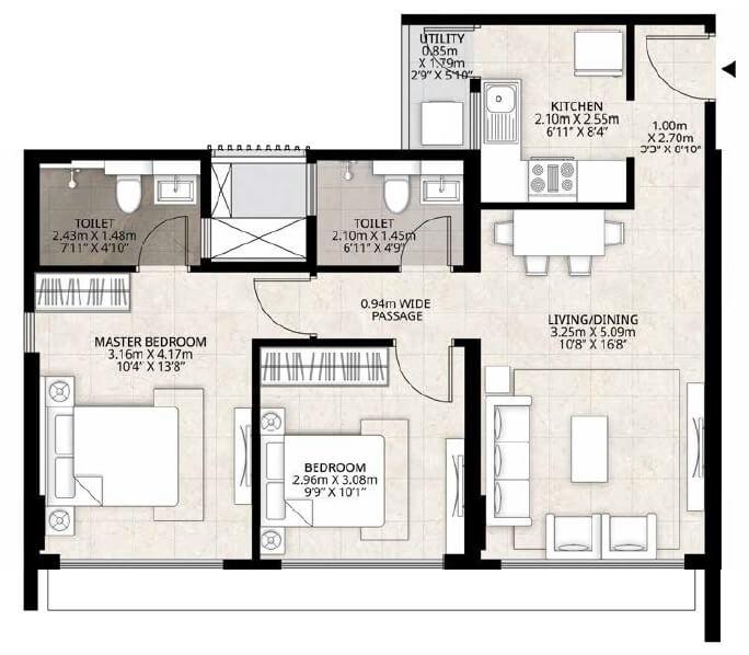 mahundra lifespaces roots apartment 2bhk 672sqft 1