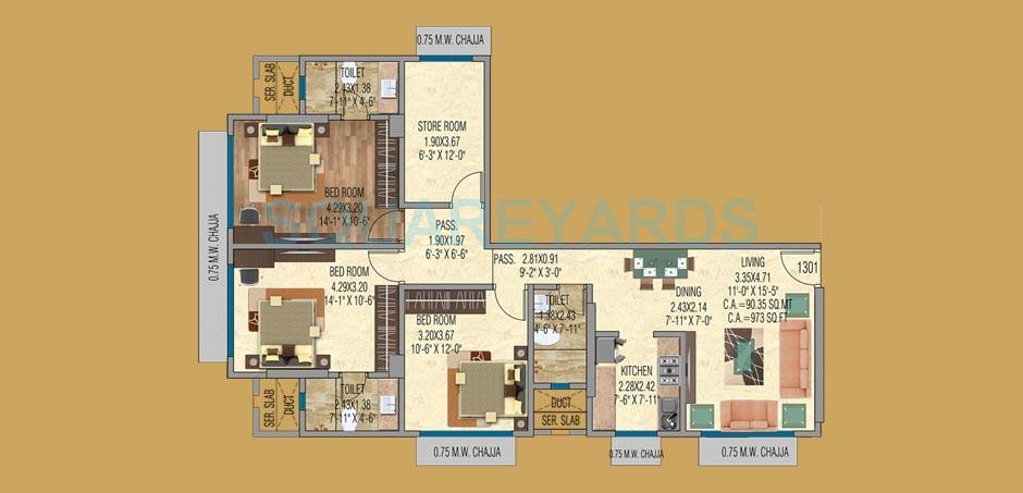 mayfair housing shyam apartment 3bhk 973sqft 1