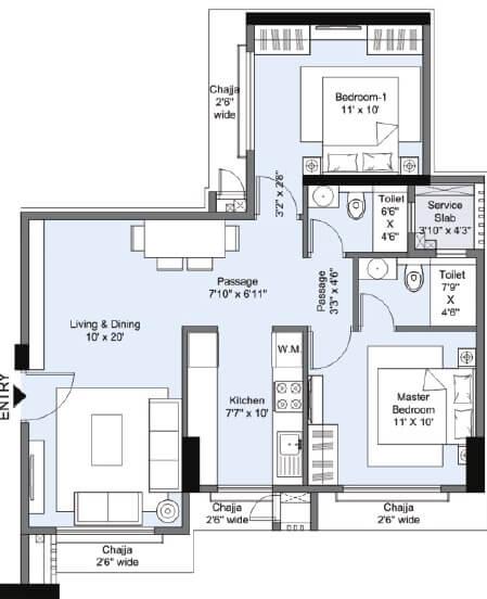 mokal pushp pinnacle apartment 2bhk 1250sqft 1