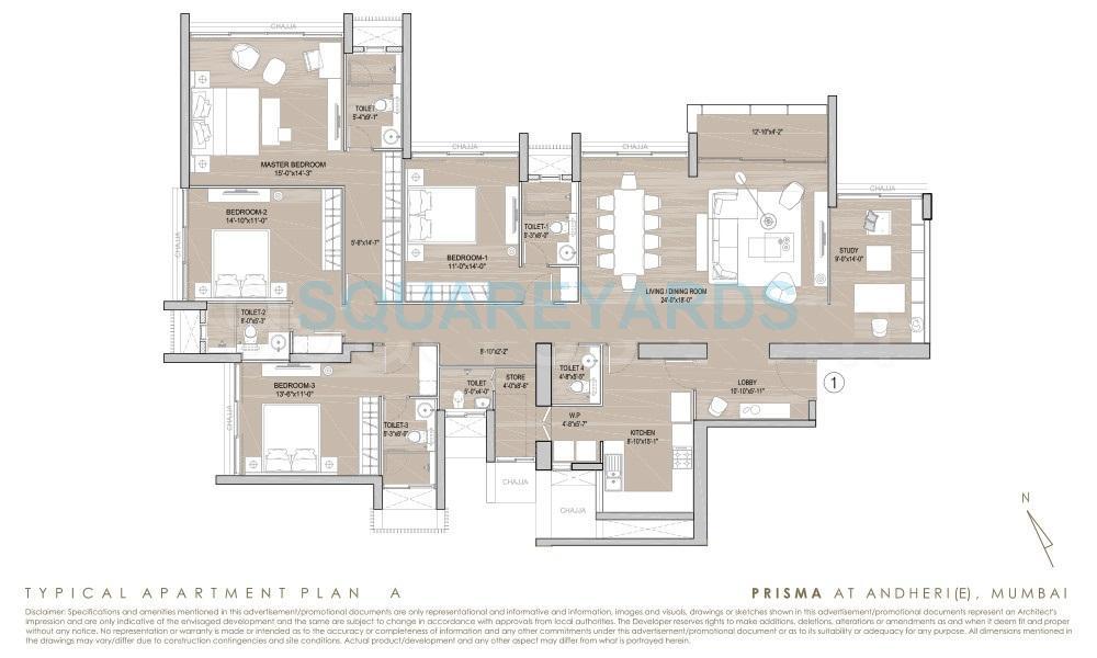 4 BHK 1891 Sq  Ft  Apartment
