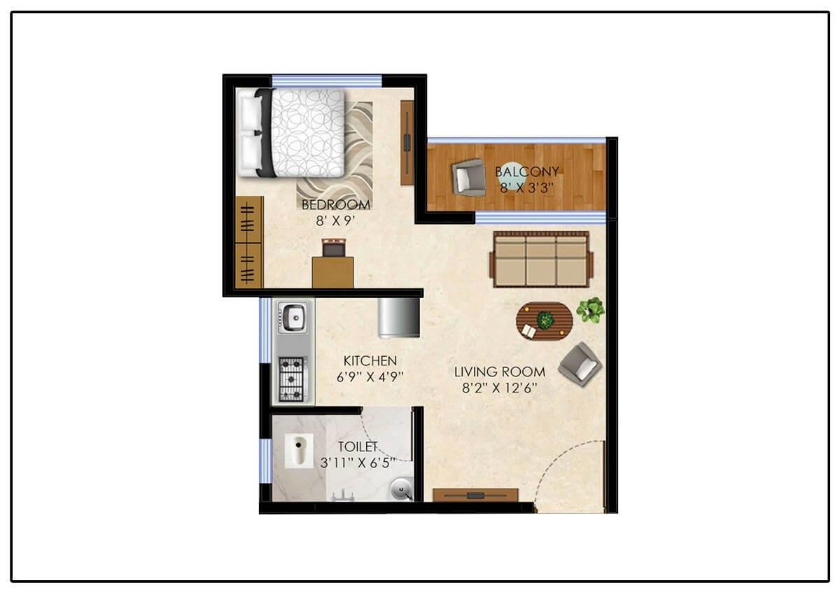 olympeo neo city apartment 1bhk 265sqft 1