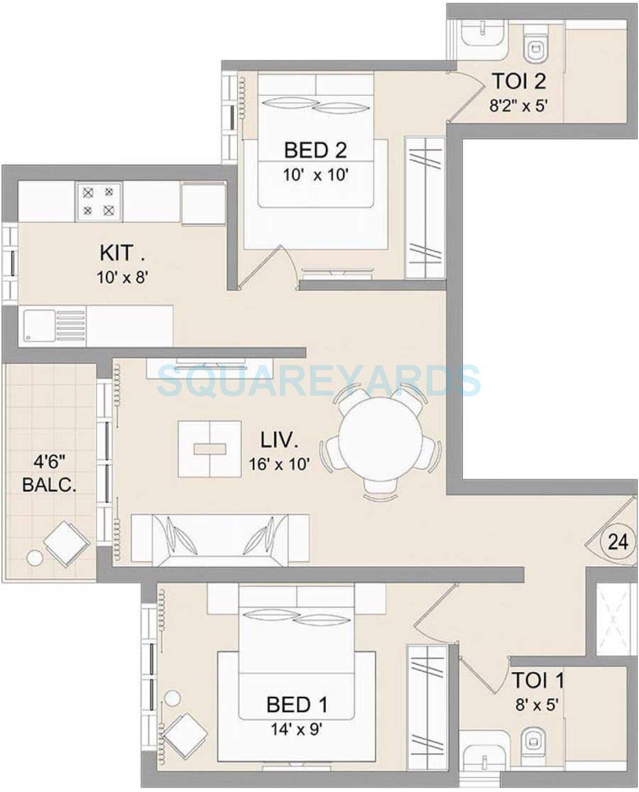 omkar kenspeckle apartment 2bhk 1150sqft1