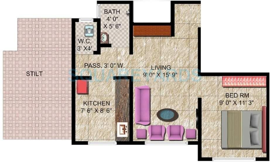 panvelkar realtors classic apartment 1bhk 560sqft1