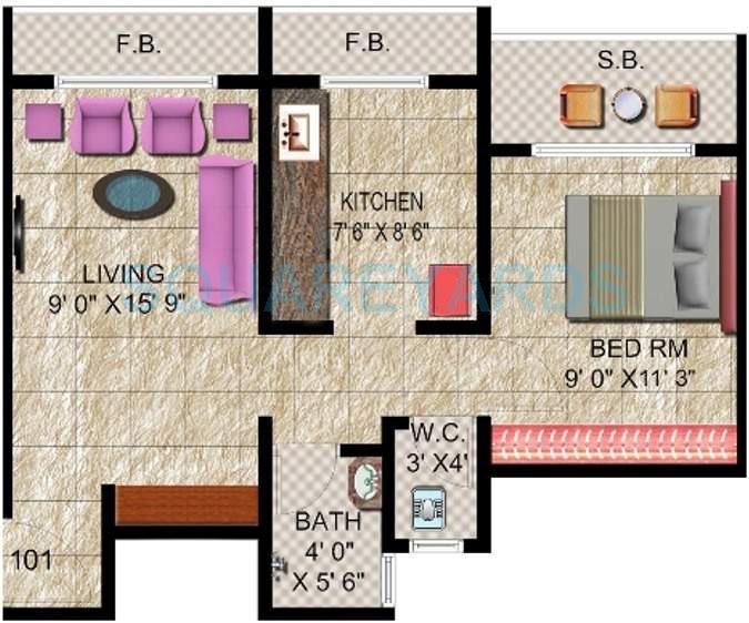 panvelkar realtors classic apartment 1bhk 675sqft1