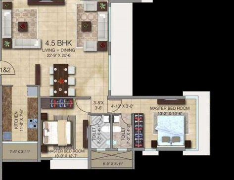 4 Bhk 1424 Sq Ft Apartment For Sale In Paradigm Ananda Residency At Rs 1 87 Cr Mumbai