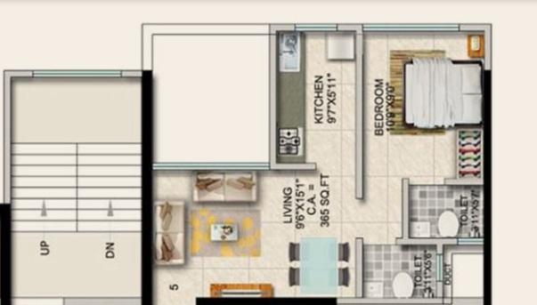 paradigm ariana residency apartment 1 bhk 371sqft 20201015121052