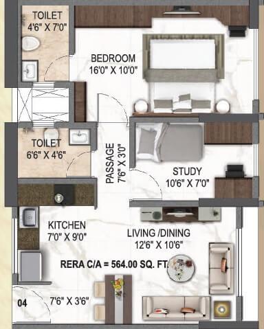 paradigm el signora apartment 1bhk st 564sqft 1