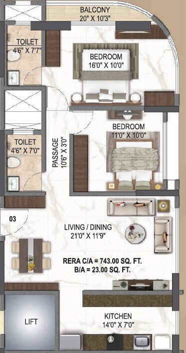 paradigm el signora apartment 2bhk 743sqft 1