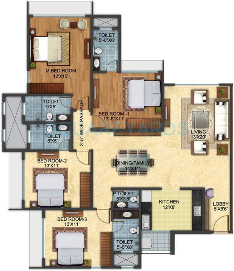 pashmina lotus apartment 4bhk 2400sqft1