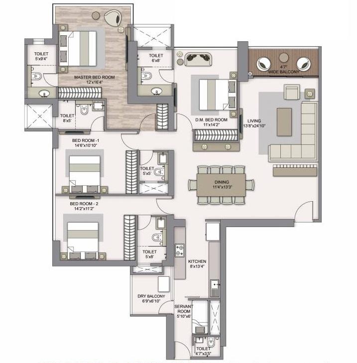 piramal mahalaxmi central tower apartment 4bhk 1877sqft 51