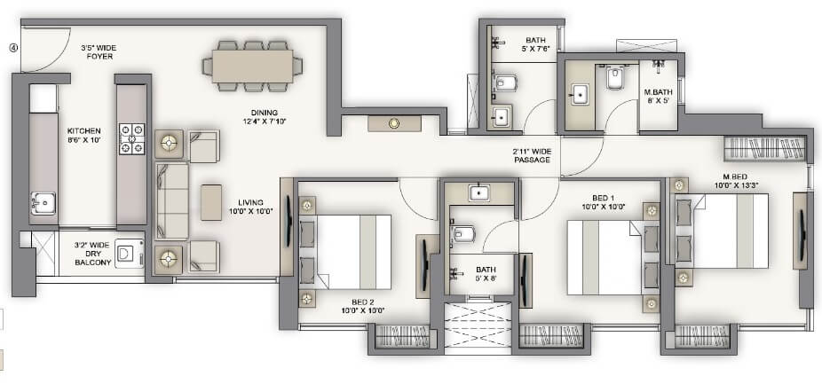 piramal vaikunth vairat apartment 3bhk 943sqft 1