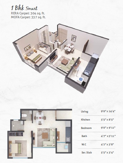 poddar wondercity phase ii apartment 1bhk 304sqft 01
