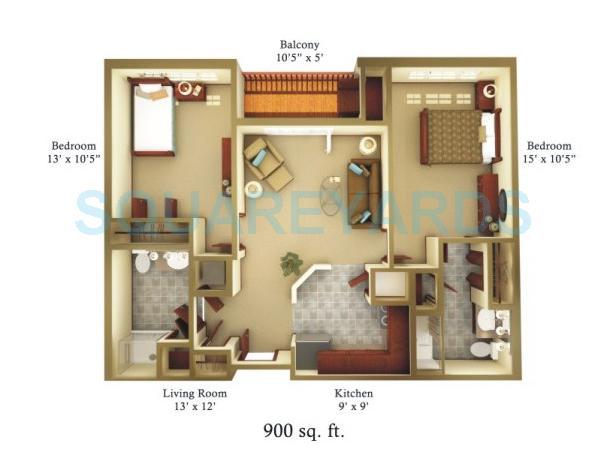 2 bhk 900 sq ft apartment for sale in raheja tipco for Interior design 600 sq ft flat