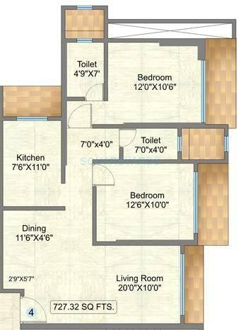 raunak sai dham towers apartment 2bhk 727sqft1