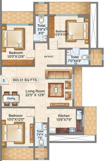 raunak sai dham towers apartment 3bhk 903sqft1