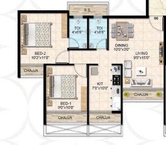 rk vaishnavi emperia apartment 2bhk 700sqft 1