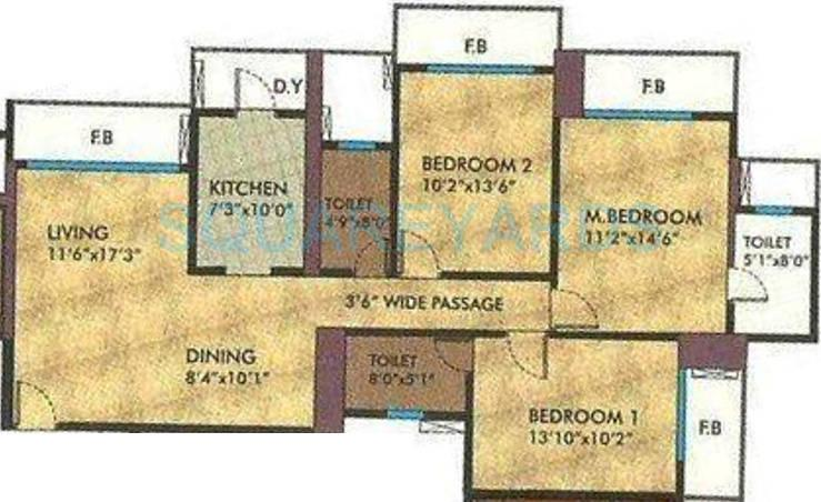 rna corp exotica apartment 3bhk 1650sqft1