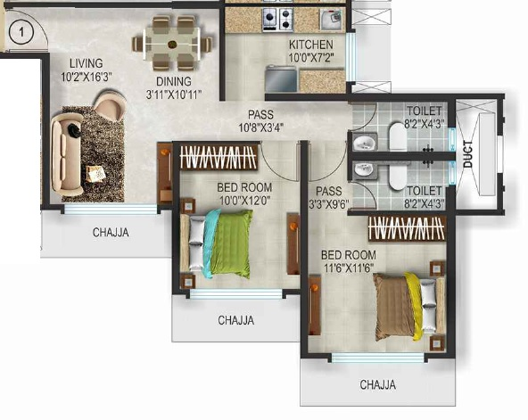 romell aether apartment 2bhk 707sqft 1