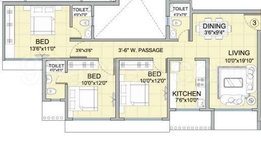 romell diva apartment 3bhk 1470sqft 1