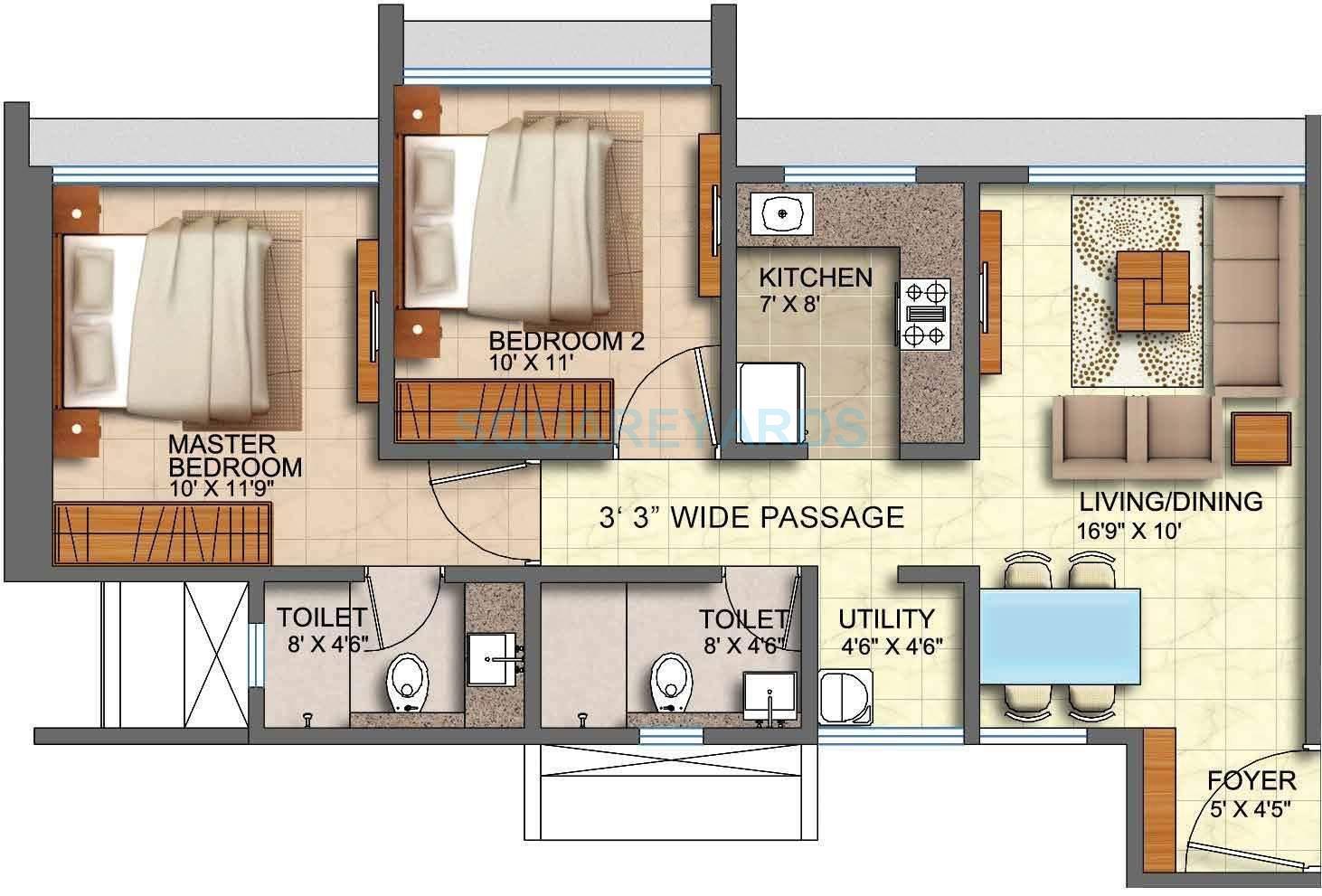 runwal forests apartment 2bhk 1025sqft1