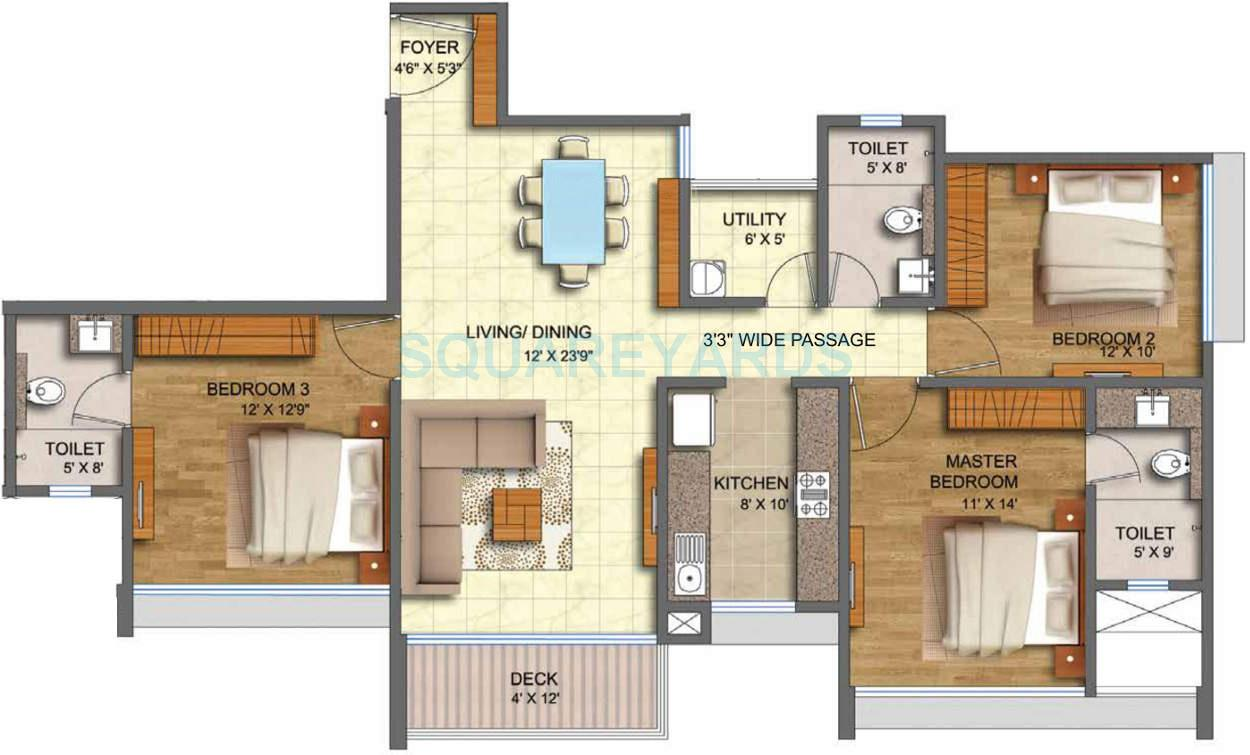 3 bhk house plan in 1800 sq ft for 1800 square feet house plans india