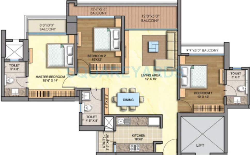 runwal greens apartment 3bhk 1960sqft1