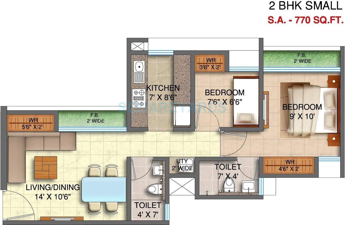 runwal my city apartment 1bhk 770sqft1
