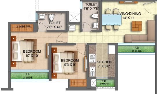 runwal my city apartment 2bhk 526sqft 1