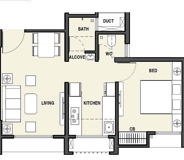rustomjee avenue d1 apartment 1bhk 389sqft 1