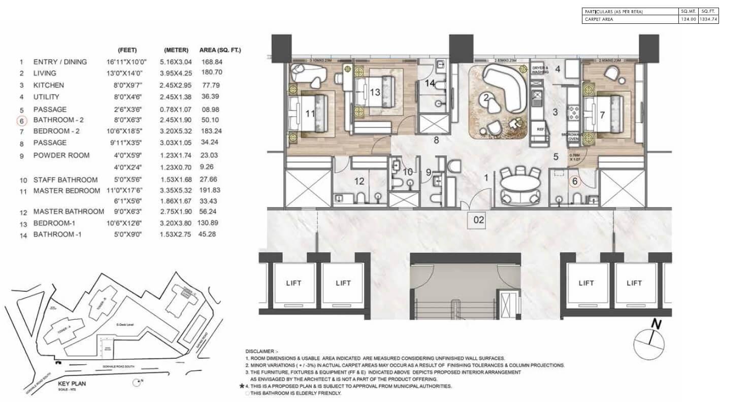 rustomjee crown apartment 3bhk 1334sqft 1