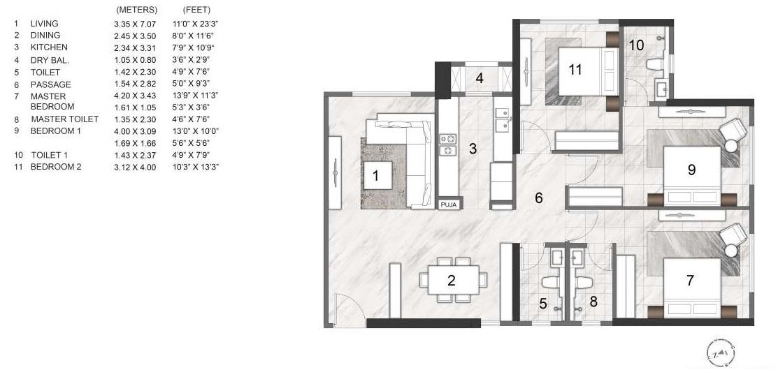 rustomjee summit apartment 3bhk 1139sqft 1