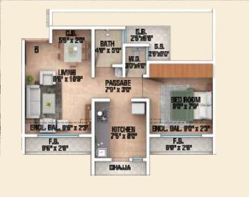 sai shrushti heritage apartment 1bhk 366sqft 1