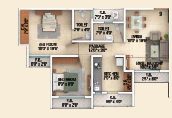 sai shrushti heritage apartment 2bhk 521sqft 1