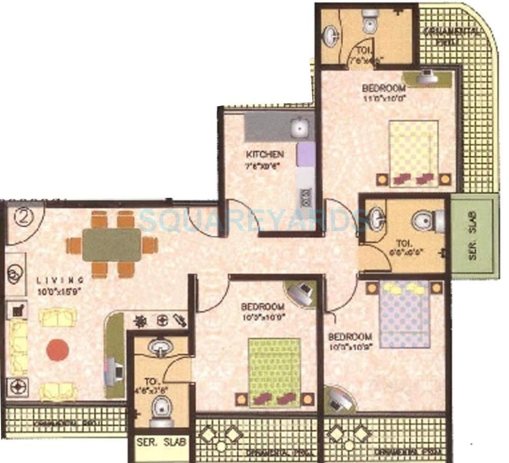 sanghvi galaxy apartment 3bhk 1520sqft1