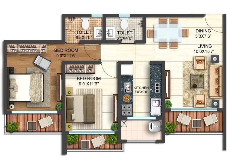 shamik elanza apartment 2bhk 1194sqft1