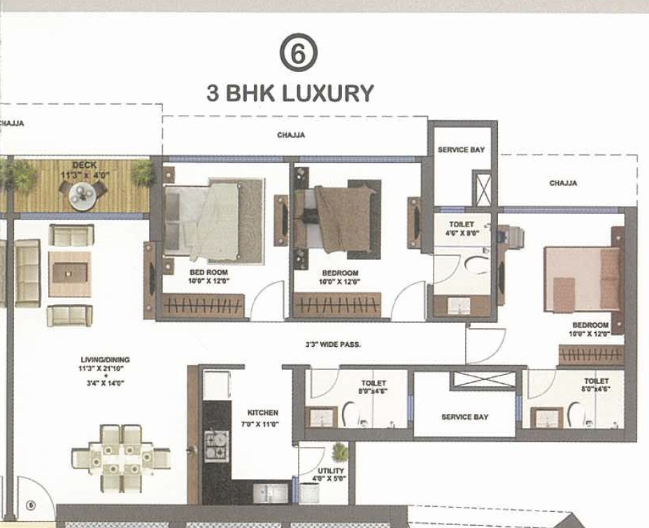 3 bhk 1697 sq ft apartment for sale in shapoorji for 1 bhk floor plans india