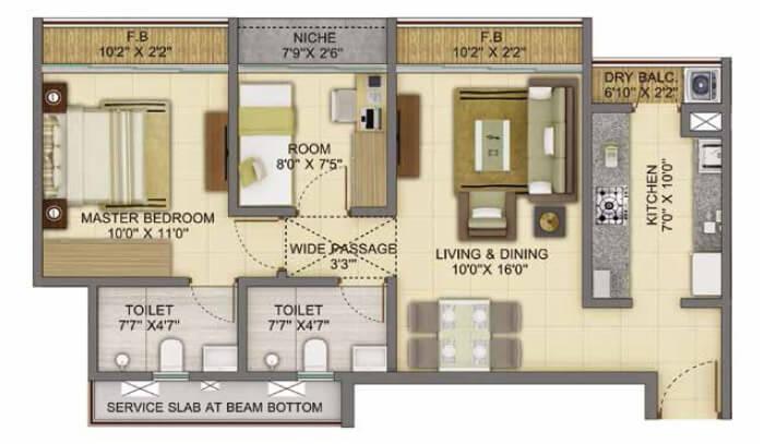 shapoorji pallonji joyville apartment 2bhk 661sqft 1