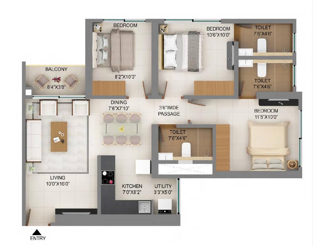 shapoorji pallonji mumbai dreams apartment 3bhk 786sqft 1