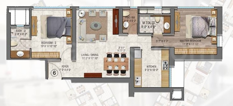 sheth auris serenity apartment 2bhk 1215sqft1