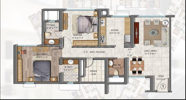 sheth auris serenity apartment 2bhk 1220sqft1