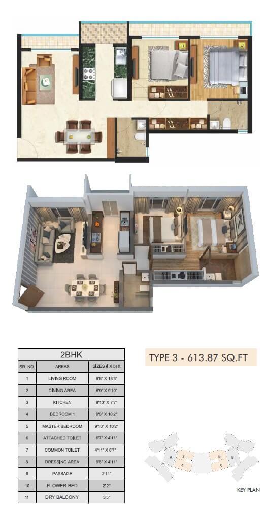 sonam indraprasth apartment 2bhk 613sqft 1