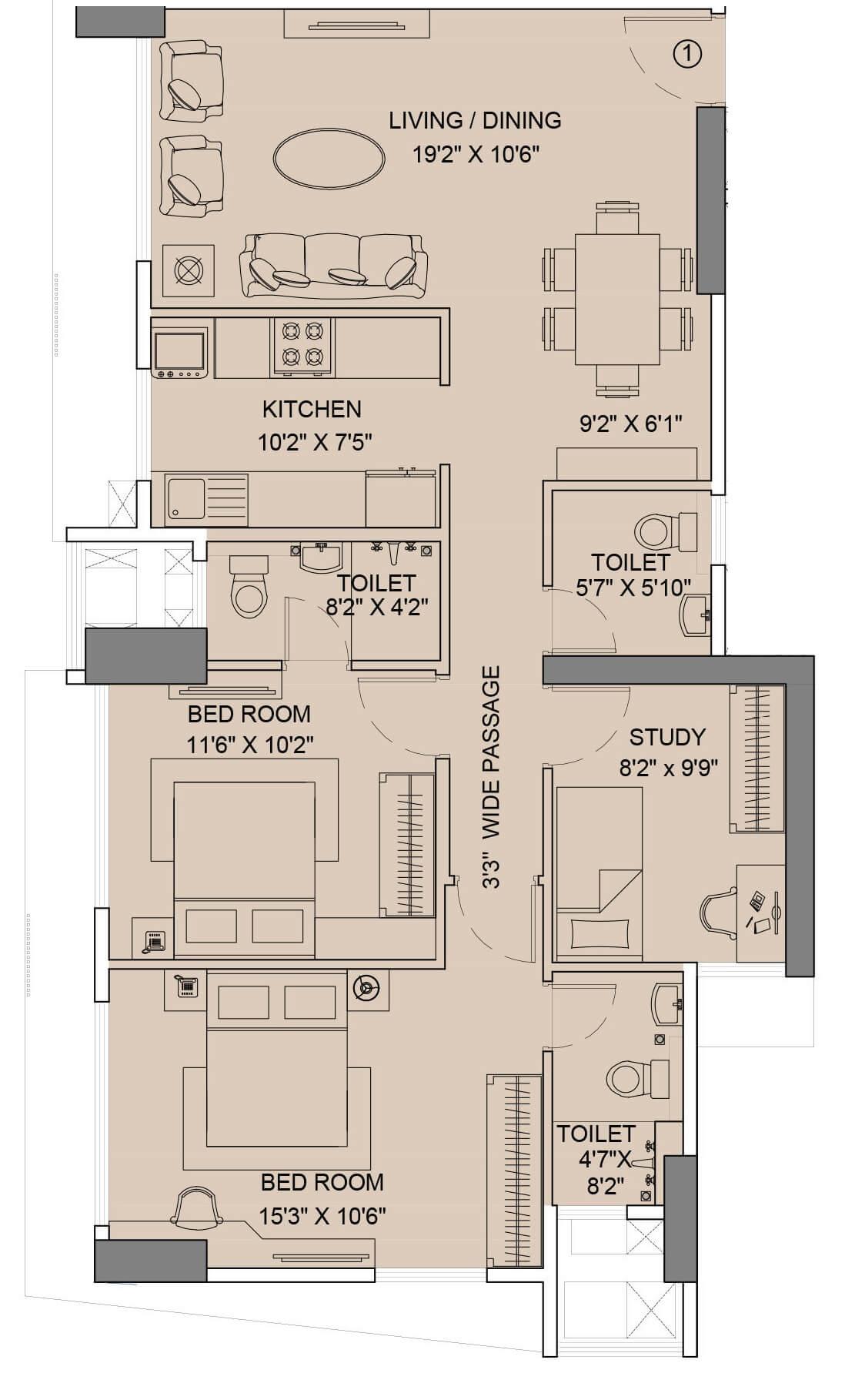 sunteck city avenue 2 apartment 3bhk 894sqft 1